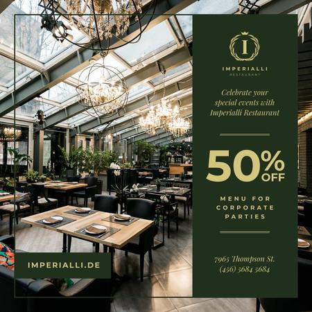 Plantilla de diseño de Party Menu Offer Restaurant Interior Instagram AD