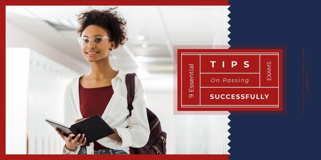 Passing Exams Tips Woman Holding Book — Maak een ontwerp