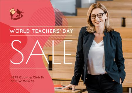 World Teachers' Day Sale Confident Woman in Classroom Card Design Template