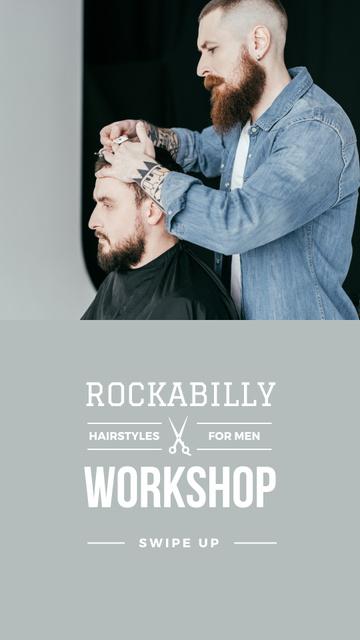Szablon projektu Hairstyles workshop ad with client at Barbershop Instagram Story