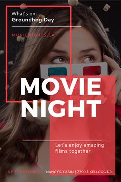 Movie Night Event Woman in 3d Glasses | Pinterest Template
