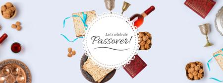 Happy Passover Dinner Table Frame Facebook Video cover Modelo de Design