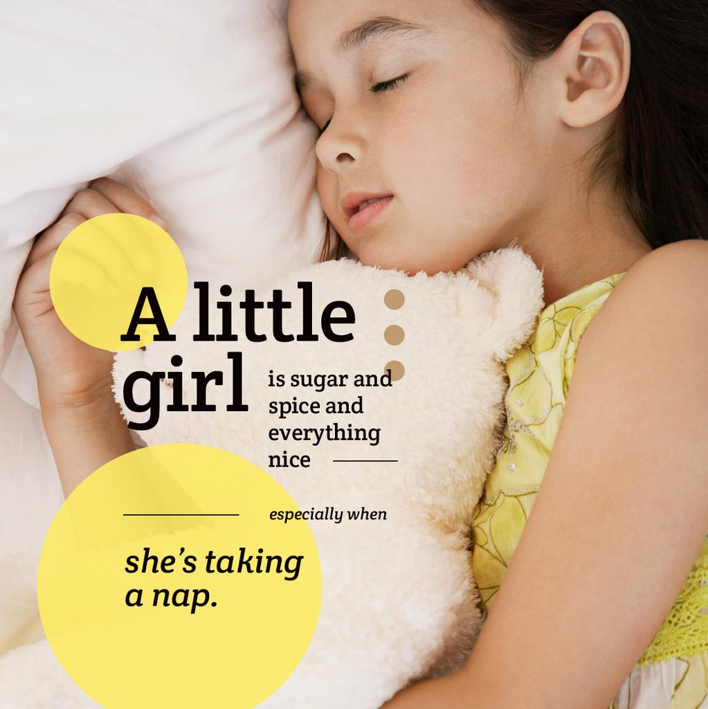 Cute little girl sleeping Instagram Design Template