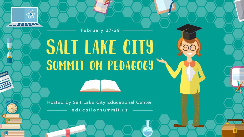 Pedagogy Summit Teacher Explaining in Class | Facebook Event Cover Template — Создать дизайн