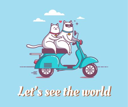 Ontwerpsjabloon van Facebook van Motivational travel quote with cats on Scooter