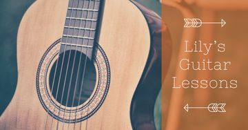 Guitar lessons Ad with Acoustic Guitar
