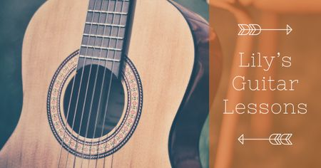 Plantilla de diseño de Guitar lessons Ad with Acoustic Guitar Facebook AD
