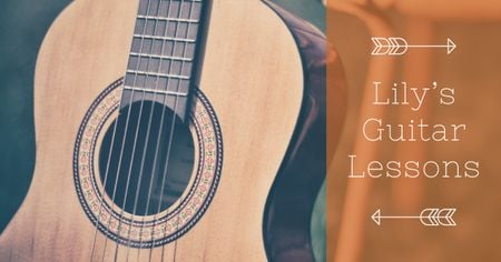 Guitar lessons Ad with Acoustic Guitar Facebook AD Modelo de Design