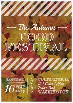 Autumn food Festival ad on Yellow Leaves