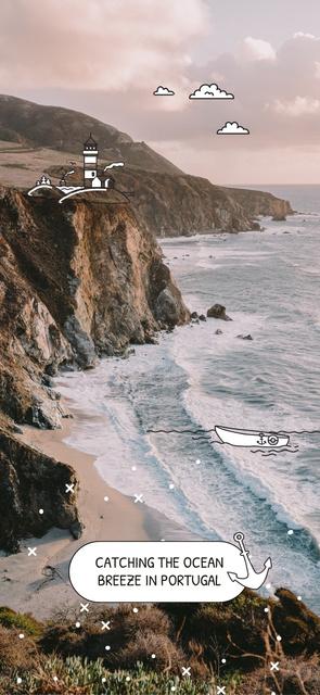 Scenic seacoast in Portugal Snapchat Geofilter Modelo de Design