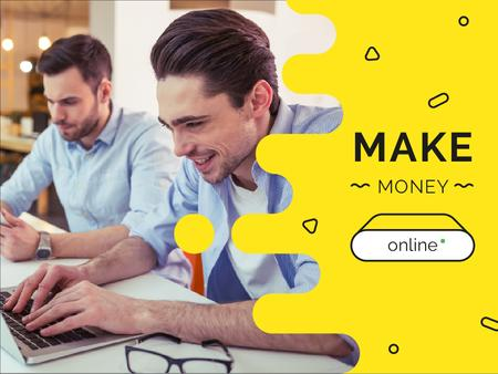 Money Online Ad with Businessmen Presentationデザインテンプレート