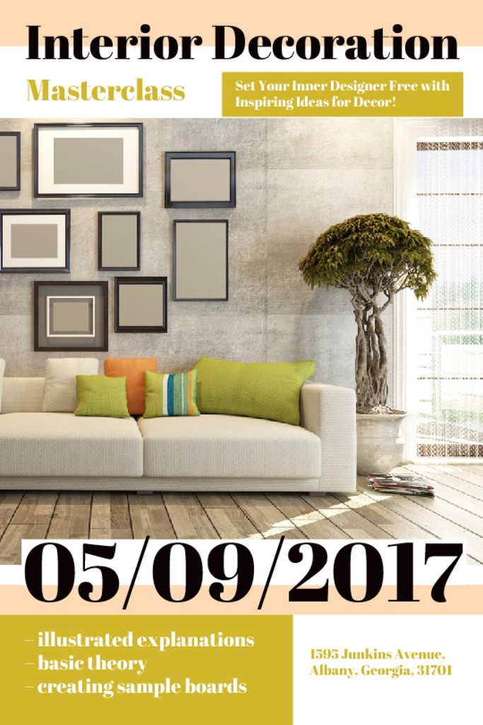 Interior Decoration Event Announcement Interior in Grey | Tumblr Graphics Template — Créer un visuel