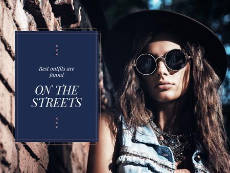 Template di design Stylish Woman in Hat and Sunglasses Presentation