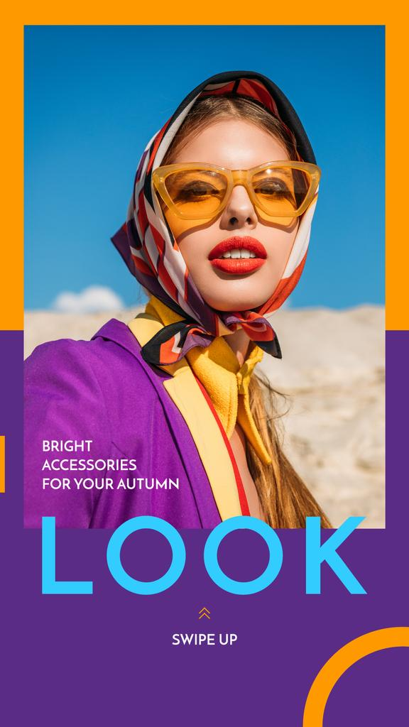 Fashion Accessories Ad Stylish Girl in Sunglasses — ein Design erstellen