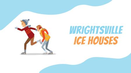 Ice Rink Ad Woman and Man Speed Skating Full HD video Design Template