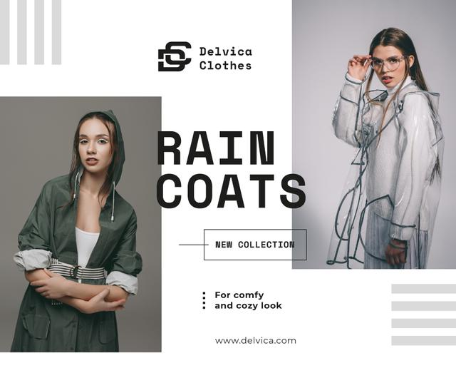 Fashion Ad Girl wearing Raincoat Facebook Modelo de Design