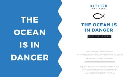 Ontwerpsjabloon van FB event cover van Ecology Conference Invitation with blue Sea Waves