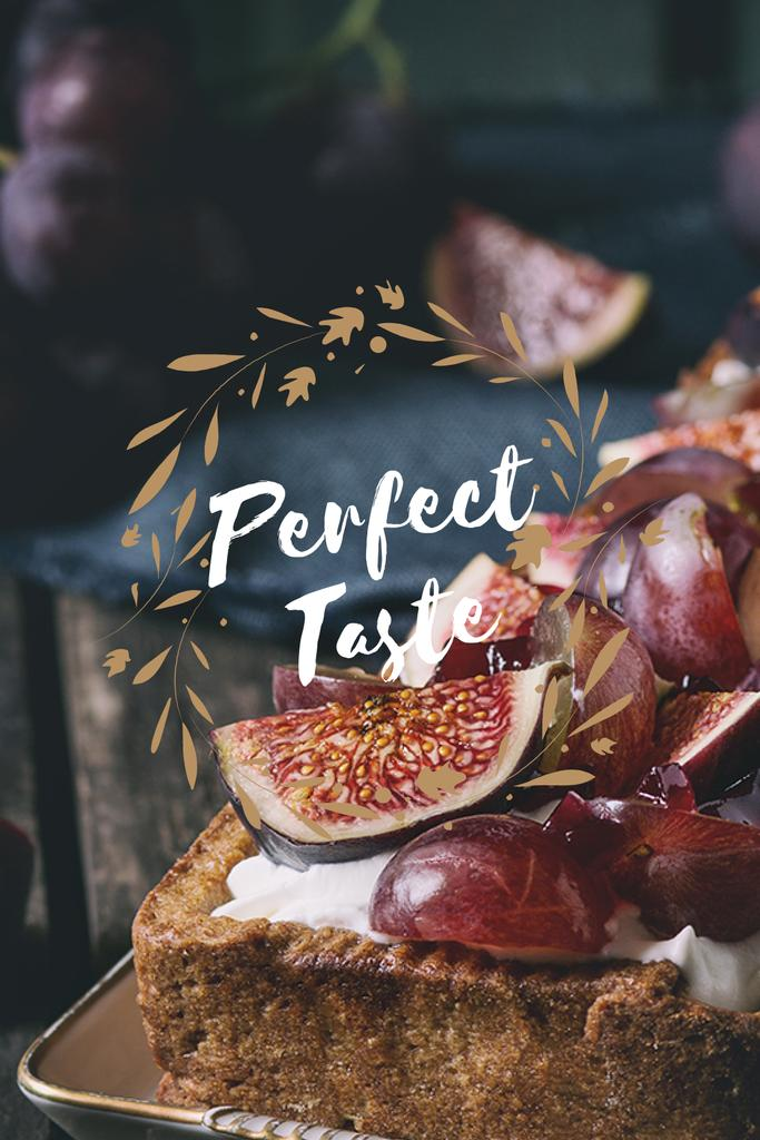 perfect taste poster with delicious cake tumblr graphic template