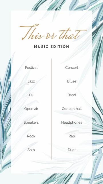 Template di design This or That Music game on Leaves pattern Instagram Story