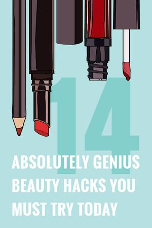 Beauty Hacks with Cosmetics Set in Red Pinterest Tasarım Şablonu