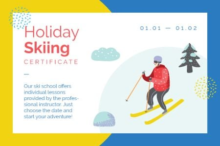 Skier on a snowy slope Gift Certificate – шаблон для дизайну