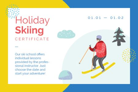 Skier on a snowy slope Gift Certificate Design Template