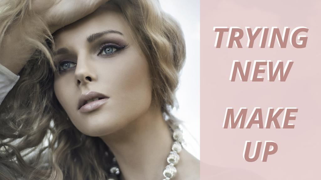 Template di design Makeup Ad Young Attractive Woman in Pink  Youtube Thumbnail