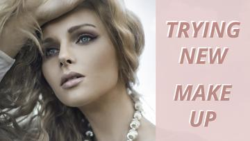 Makeup Ad Young Attractive Woman in Pink