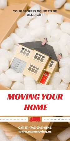 Home Moving Service Ad House Model in Box Graphicデザインテンプレート