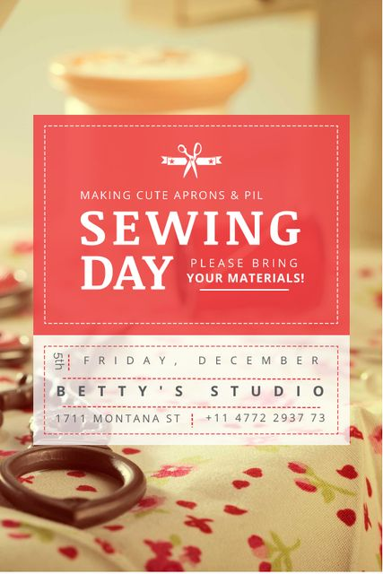 Sewing day event with needlework tools Tumblr Tasarım Şablonu