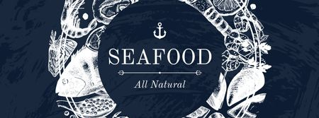 Seafood Offer with Fish Pattern Facebook coverデザインテンプレート