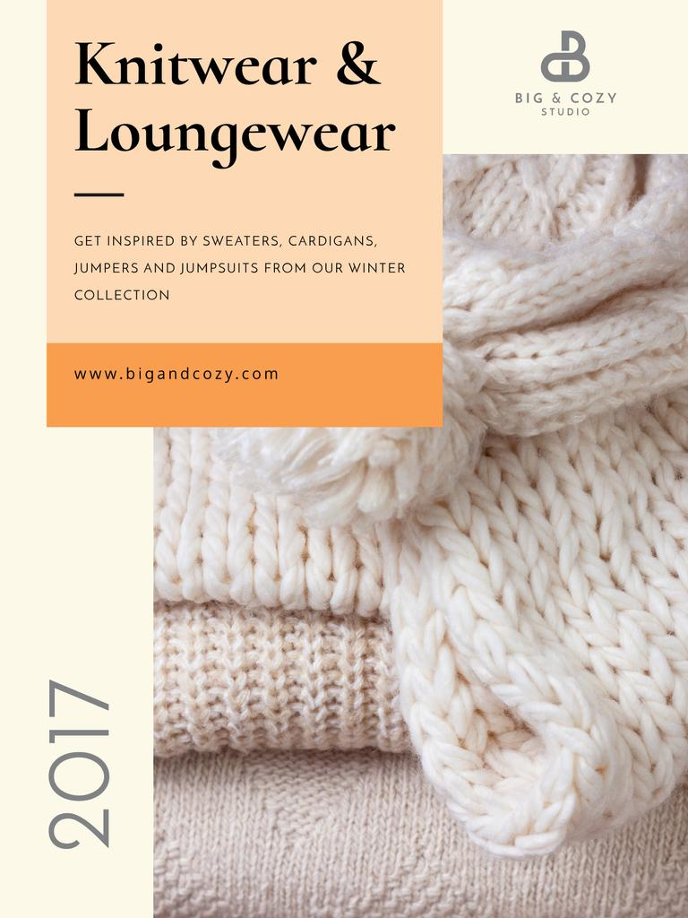 Knitwear Ad with Cozy Textile Pieces Poster US – шаблон для дизайна