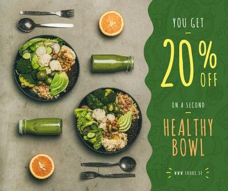 Healthy Food Offer with Vegetable Bowls Facebook Modelo de Design