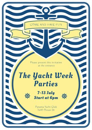 Yacht Party advertisement with blue stripes Flayerデザインテンプレート