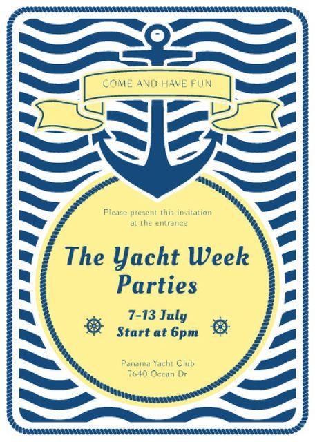 Ontwerpsjabloon van Flayer van Yacht Party advertisement with blue stripes