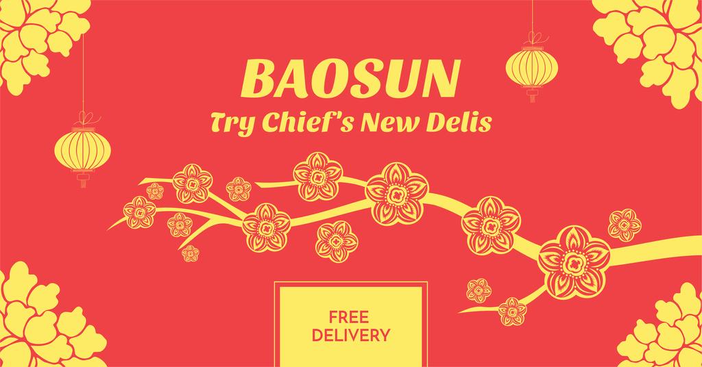 Asian Food Restaurant Ad Sakura Flowers | Facebook Ad Template — Crear un diseño