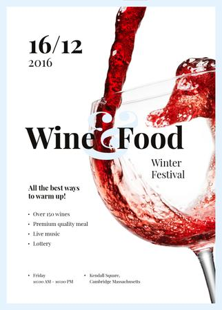 Template di design Pouring red wine in glass at Food Festival Invitation