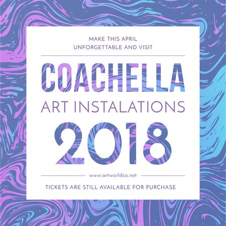 Plantilla de diseño de Coachella festival art installation Instagram AD
