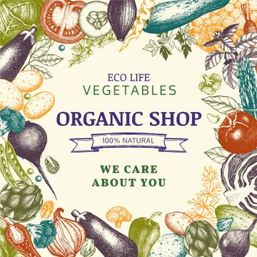 Organic shop poster with vegetables