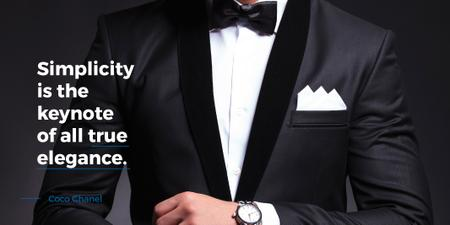 Ontwerpsjabloon van Twitter van Fashion Quote with Businessman Wearing Suit