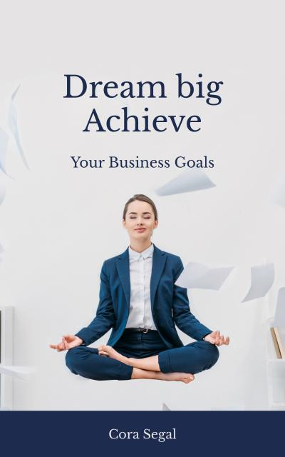Woman Meditating at Workplace Book Cover Tasarım Şablonu