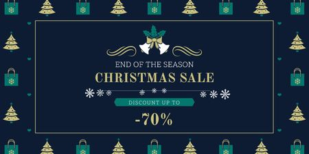 Plantilla de diseño de Christmas Sale Announcement with Trees and Gifts Twitter