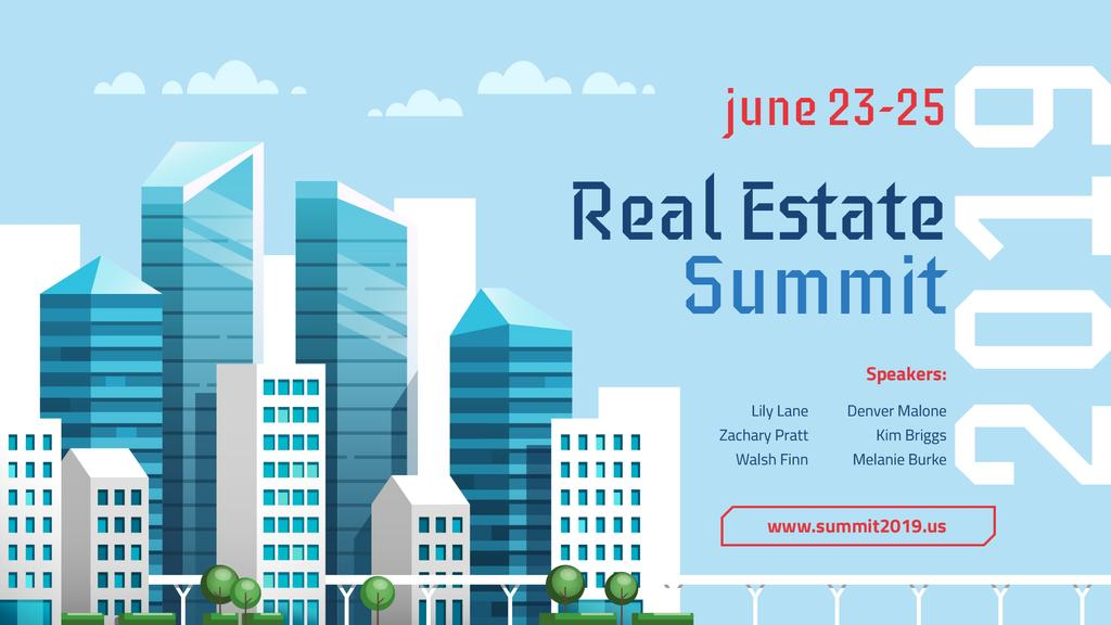Real Estate Event Modern Glass Buildings | Facebook Event Cover Template — Створити дизайн