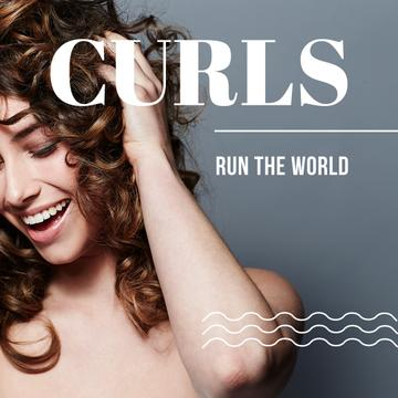 Beautiful young woman with text curls run the world