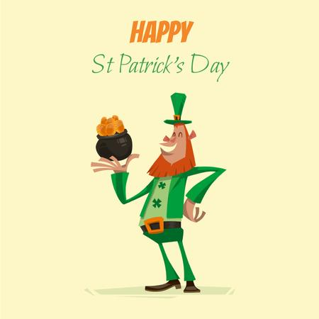 Ontwerpsjabloon van Animated Post van Saint Patrick's leprechaun with coins