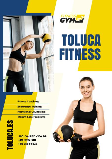 Gym Promotion with Woman with Gym Equipment Poster Modelo de Design