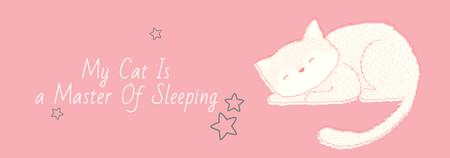 Cute Cat Sleeping in Pink Tumblr Design Template