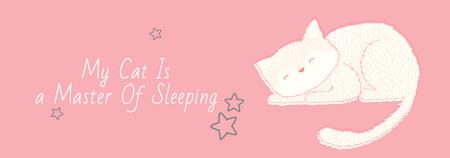 Cute Cat Sleeping in Pink Tumblr Modelo de Design