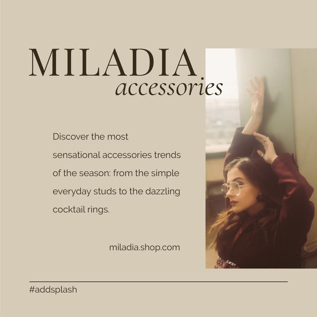 Plantilla de diseño de Accessories Offer with Woman posing in Stylish Outfit Instagram