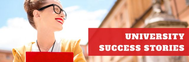 University success stories with Smiling Woman Email headerデザインテンプレート